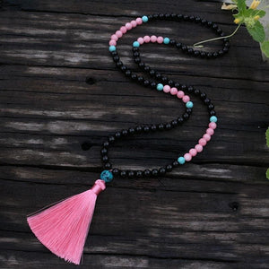 Black Tourmaline Pink Jasper and Sleeping Beauty Turquoise Necklace - Necklace
