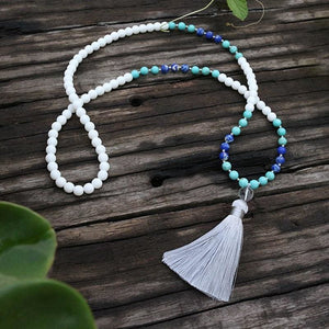 Blue Jasper Turquoise and White Agate Mala Necklace - Necklace