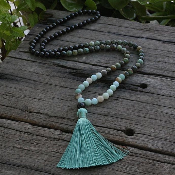Bring Confidence African Turquoise Amazonite & Black Tourmaline Necklace - Necklace