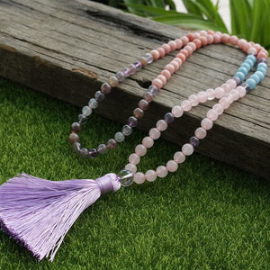 Bring Sun Warm Power SunStone Rose Quartz Fluorite and Blue Calcite Necklace - Necklace