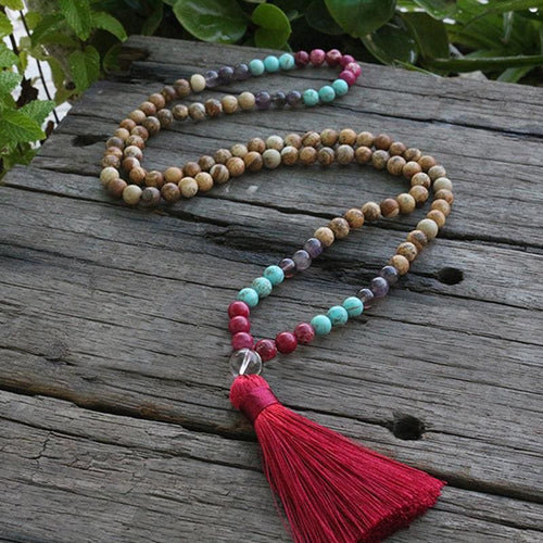 Brings Joy Picture Jasper Turquoise Amethyst And Pink Jasper Beads Necklace - Necklace