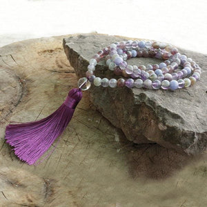 Calm An Active Mind Fluorite And Aquamarine Mala Necklace - Necklace