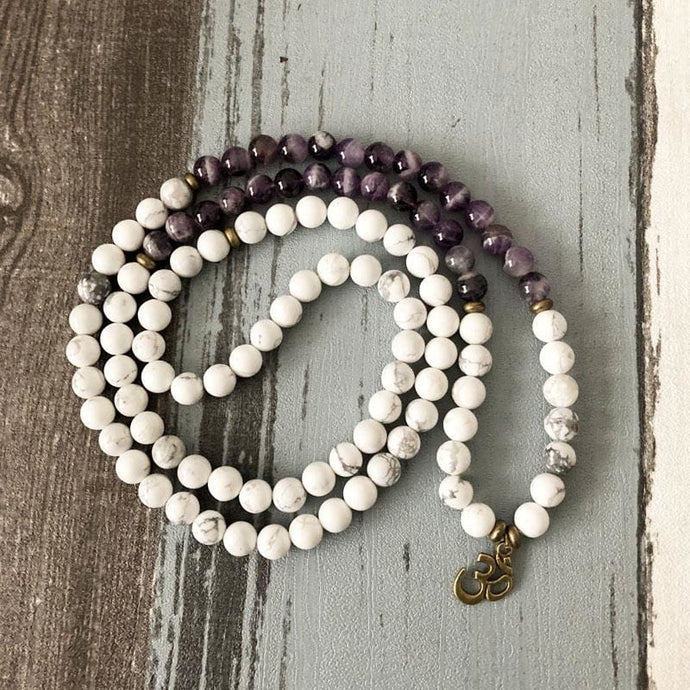 Calming And Empowering Howlite And Purple Agate Stone Mala Necklace/Bracelet - Malas