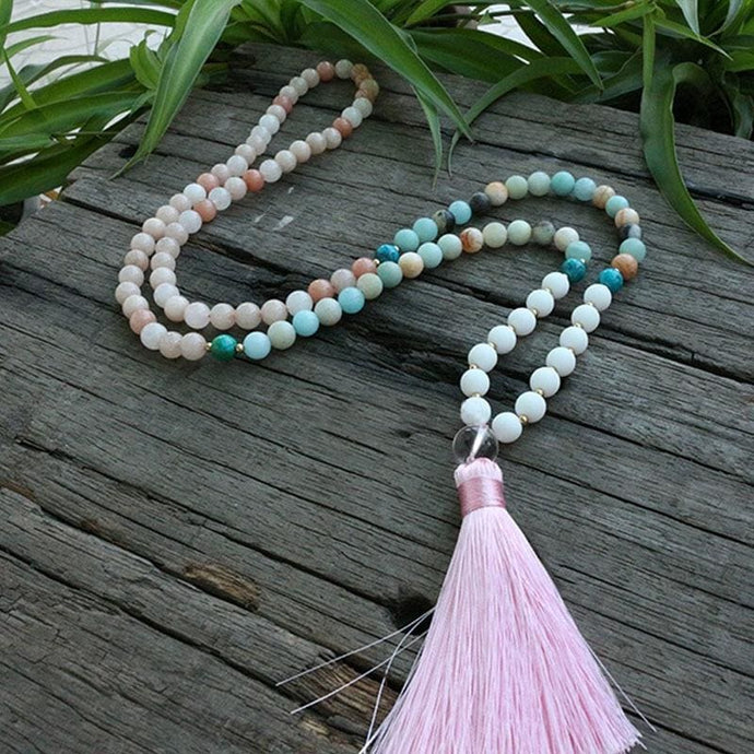 Calms Emotions Amazonite Milky Quartz Azurite Malachite And Pink Aventurine Necklace - Necklace