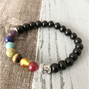 Chakra Aligning And Grounding Black Tourmaline Buddhist Bracelet - Bead Bracelets