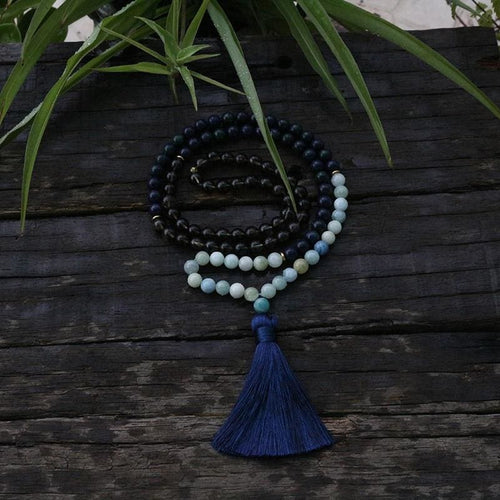 Chrysocolla and Aquamarine Mala Necklace - Necklace