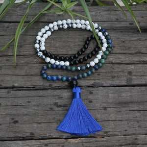 Chrysocolla and Howlite Mala Necklace - Necklace