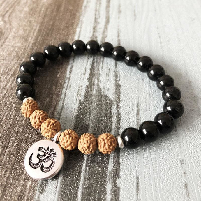 Clarity And Self-Confidence Increasing Black Tourmaline & Rudraksha Bracelet - Bead Bracelets