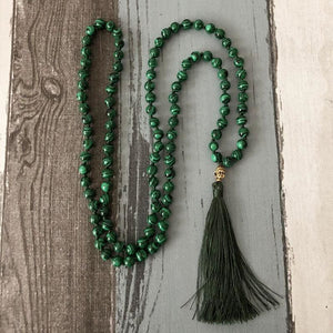 Clarity Bestowing And Purifying Malachite Stone Mala Necklace - Malas