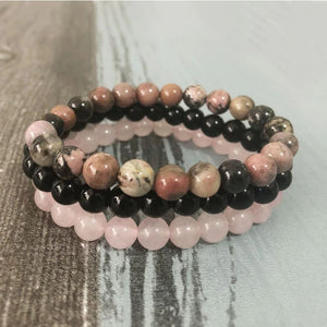 Cleansing & Compassion Inducing Black Tourmaline Rhodonite & Rose Quartz Bracelet Set - Stacked Bracelets