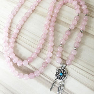 Comforting & Soothing Dream Catcher Rose Quartz Mala Necklace - Malas