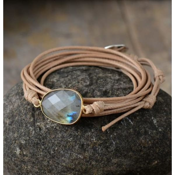 Correct Connection Labradorite Boho Bracelet - Tan - Wrap Bracelet