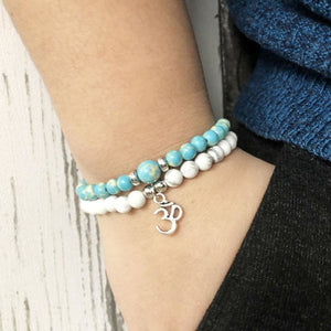Courage Enhancing & Stress Relieving Howlite &blue Jasper Bracelet Set - Stacked Bracelets