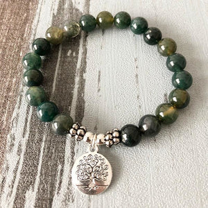 Creativity Stimulating & Balancing Tree of Life Moss Agate Bracelet - Bead Bracelets