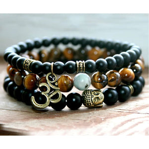 Empowering And Clarity Promoting Black Tourmaline & Tiger Eye Bracelet Set - Stacked Bracelets