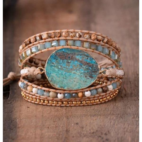 Ethical Revival Unique Mixed Natural Stones Wrap Bracelet - Non Leather - Wrap Bracelet