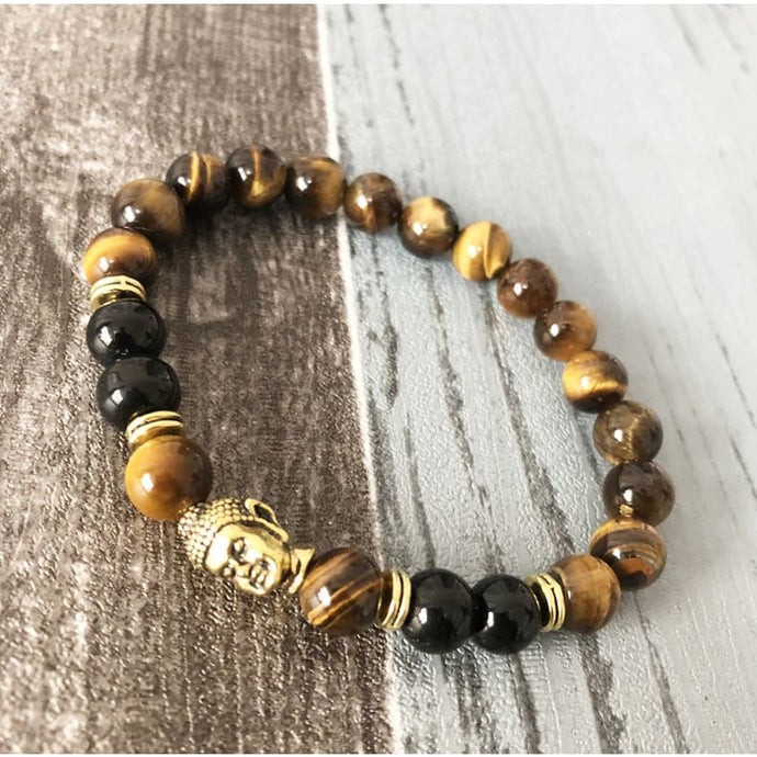 Good Fortune Bringing Black Tourmaline And Tiger Eye Buddha Bracelet For Men - Bead Bracelets