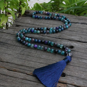 Green Blue and Purple Fluorite Necklace - Necklace