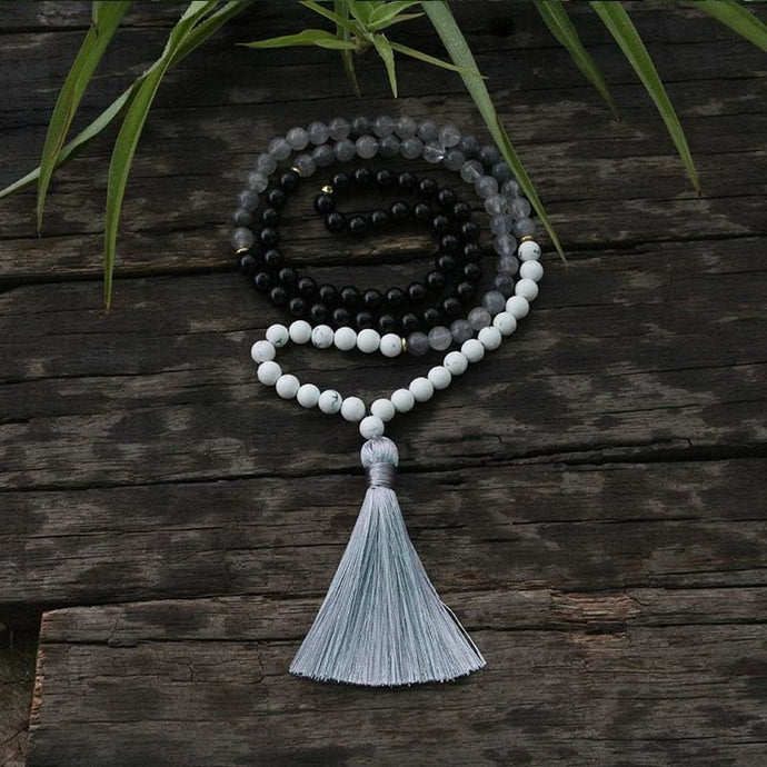 Grey Agate and Black Tourmaline Necklace - Necklace