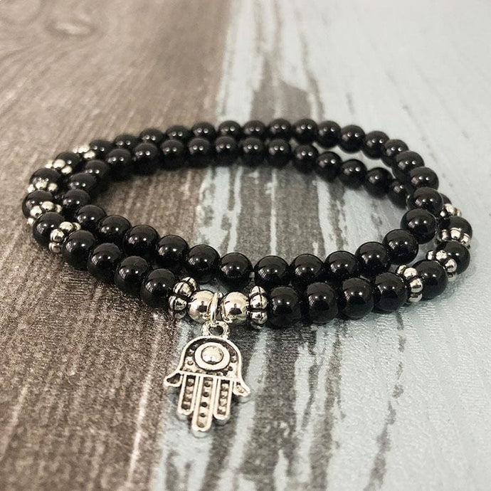 Grounding And Negativity Dispelling Black Tourmaline Hamsa Bracelet - Bracelets