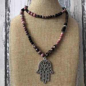 Hamsa Rhodonite Rhodochrosite and Jet Necklace - Necklace
