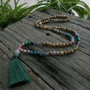 Help Find yourself Rhodochrosite Picture Jasper Purple Fluorite And Azurite Malachite Necklace