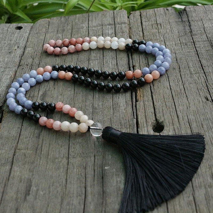 Help Improves Confidence Stilbite pink chalcedony Black Onyx Aventurine Necklace - Necklace
