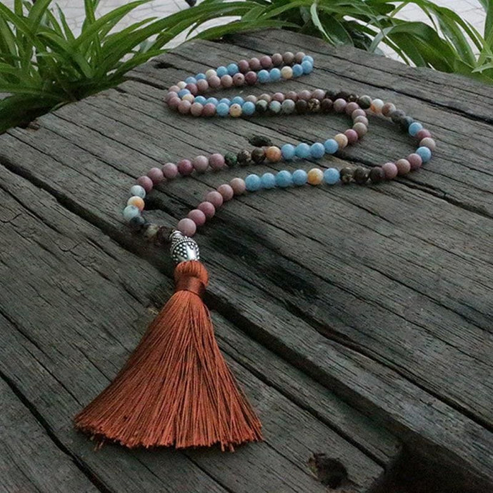 Implicit Love And Silent Rhodochrosit Blue Aragonite Necklace - Necklace