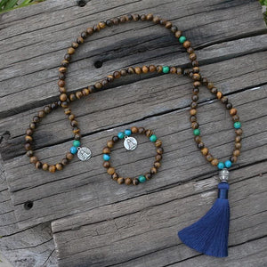 Increases Confidence Tiger Eye And Chrysocolla Necklace & Bracelet - Necklace & Bracelet