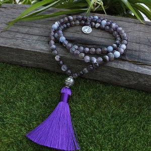 Its the Charm Amethyst And Aquamarine Mala Necklace - Necklace