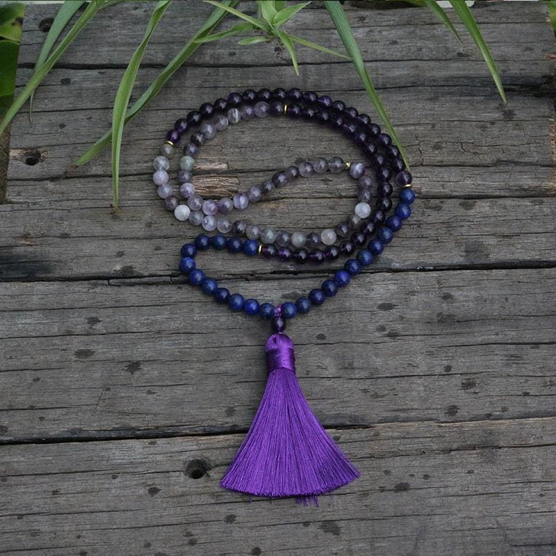 Lapis Lazuli and Amethyst 108 Mala Bead Necklace - Necklace