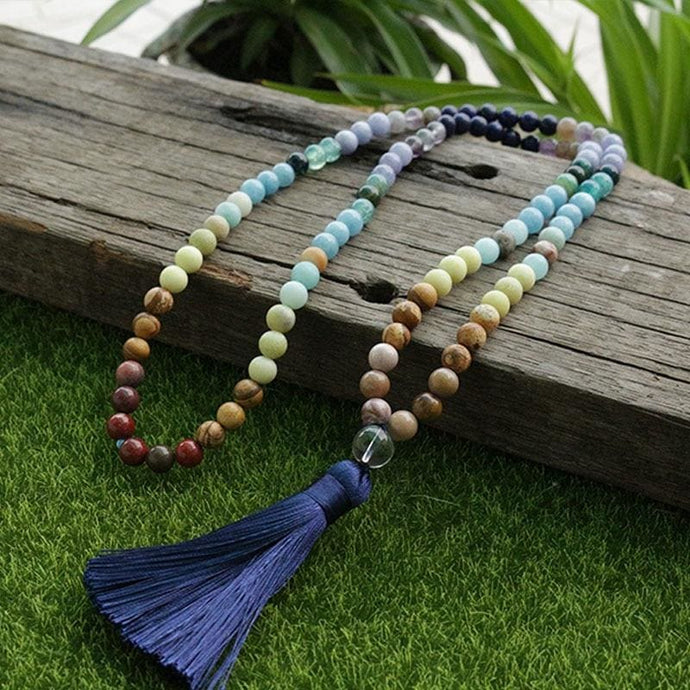 Lapis Lazuli And Aquamarine Beads Necklace - Necklace