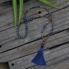 Lapis Lazuli and Red Jasper Mala Necklace - Necklace