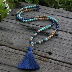 Lapis Lazuli Picture Jasper and Magnesite Turquoise Necklace - Necklace