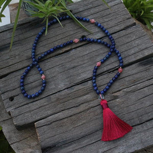 Lapis Lazuli Pink Beryl and Clear Quartz Necklace - Necklace