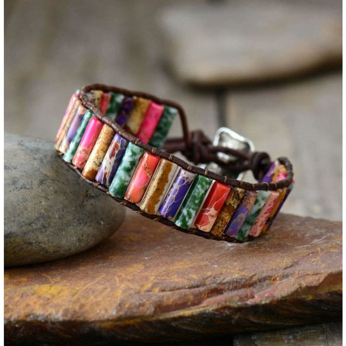 Let Courage Blossom Jasper Wrap Bracelet - Mixed Colors - Wrap Bracelet