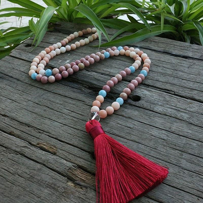 Love And Tenderness Pink Aventurine Rhodochrosite and Blue Calcite Necklace - Necklace