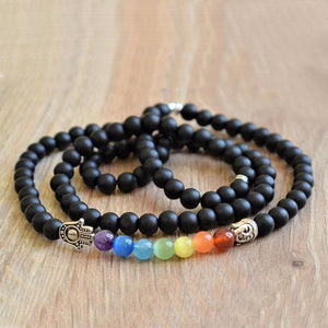 Mens Chakra and Black Tourmaline Necklace - Necklace
