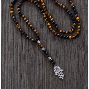 Mens Tiger Eye and Black Onyx Hamsa Necklace - Necklace
