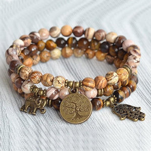 Mens Tiger Eye and Picture Jasper Charms Bracelets Set - Bead Bracelets
