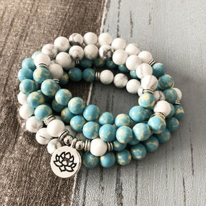 Nobility And Forbearance Endowing Howlite And Blue Jasper Mala Necklace/bracelet - Malas