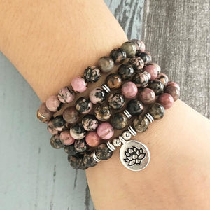 OM Charm Rhodonite Mala Necklace/Bracelet - Malas