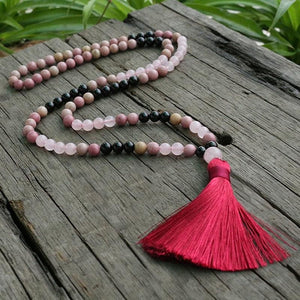 Open The Love Heart Rose Quartz & Black Tourmaline Necklace - Necklace