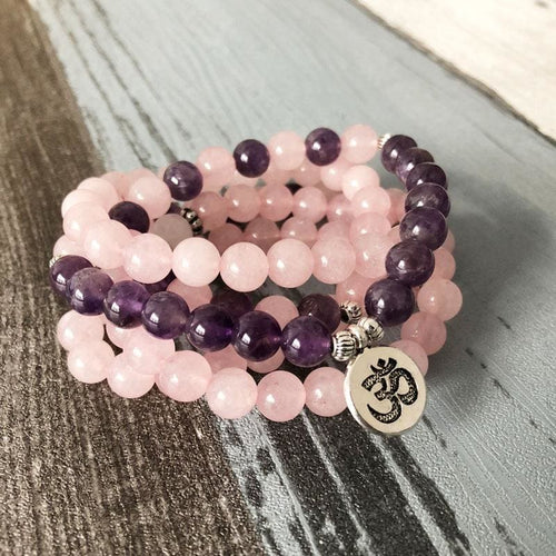 Positive Heart Rose Quartz and Amethyst Mala Bracelet/Necklace - Malas