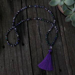Purple White Amethyst and Chrysocolla Necklace - Necklace