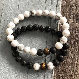 Relationship Strengthening Howlite And Lava Bracelet Set For Couples - Stacked Bracelets