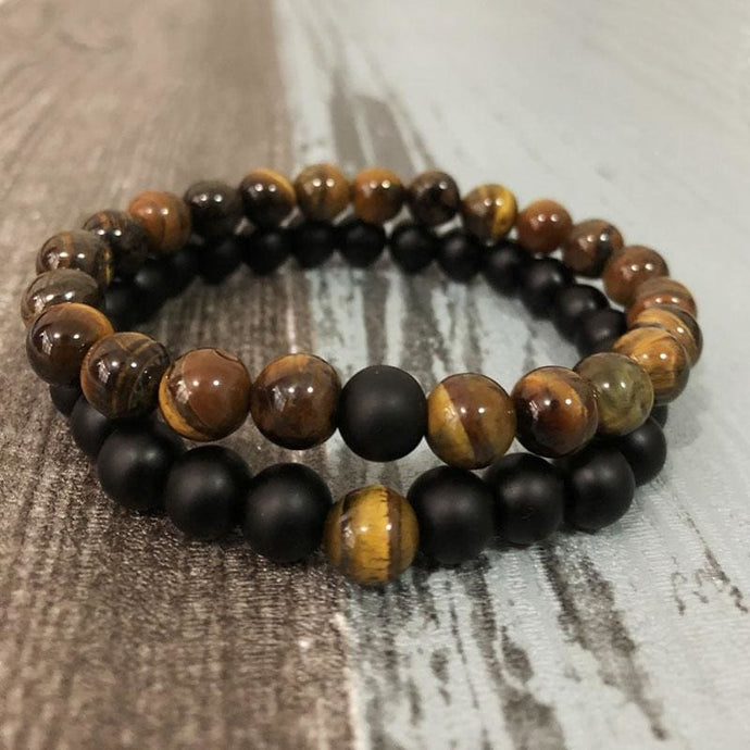 Relationship Strengthening Tiger Eye & Black Tourmaline Set of Bracelets for Couples - Stacked Bracelets