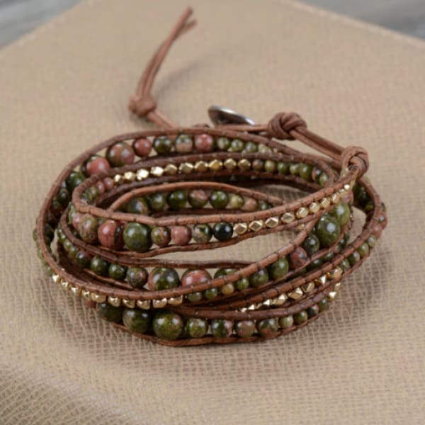 Renewal and Growth Promoting Unakite Wrap Bracelet - Bracelets