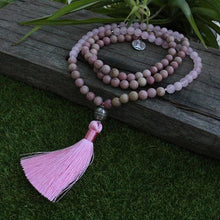 Rhodochrosite And Rose Quartz Mala Necklace - Necklace