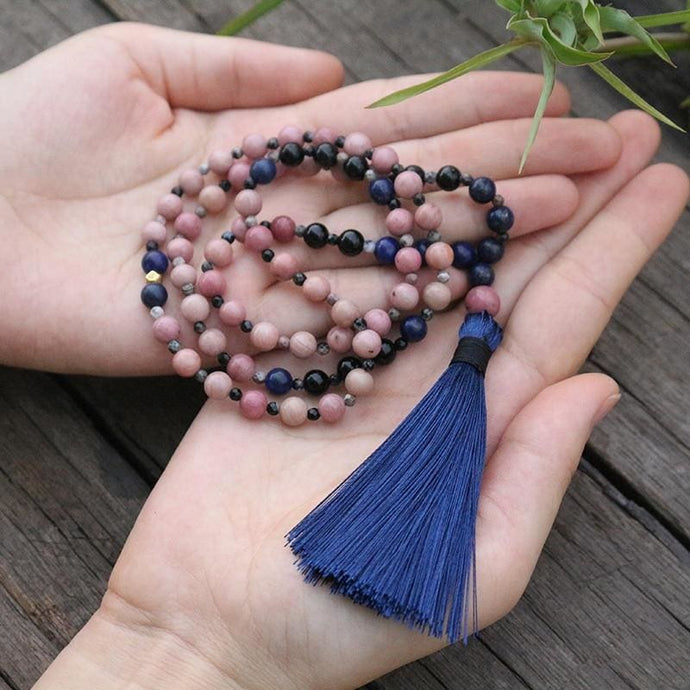 Rhodochrosite Lapis Lazuli and Black Onyx Mala Necklace - Necklace